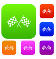 checkered racing flags set collection vector image vector image