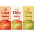 cider labels with apple and inscription vector image vector image