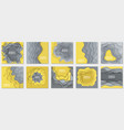 collection 10 backgrounds with yellow and grey vector image vector image