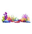 corals and algae seaweeds stone sea bottom icons vector image