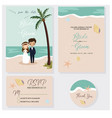cute couple in beach wedding invitations theme set