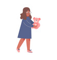 cute girl carrying plush teddy bear toy vector image