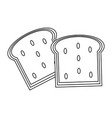 delicious breads slices in black and white vector image
