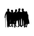 family silhouette kids parents and grandparents vector image vector image