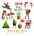 flat cartoon set about christmas and new year vector image vector image