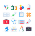 flat pill icons medication dose of drug for vector image