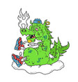 funny stoned dope dragon smoke vector image