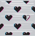 glitch hearts pattern vector image vector image