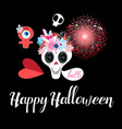 greeting card with monsters and a skull vector image vector image