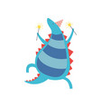 happy dinosaur in party hat with sparklers cute vector image vector image