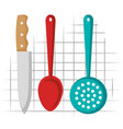 kitchen cutlery hanging icons vector image vector image