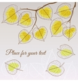 Linden leaf yellow style with place for your text vector image