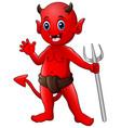 little red devil waving vector image