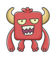 mad red square devil cartoon monster vector image vector image