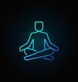 meditation or yoga blue line icon vector image