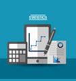 mobile calculator pen document business statistics vector image