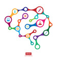multicolor connection brain with icon creative vector image vector image