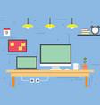 office desk workspace vector image vector image