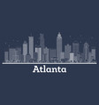 outline atlanta georgia city skyline with white vector image