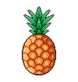 pixel whole pineapple detailed isolated vector image vector image