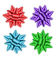 red blue green purple bow ribbons 3d set decor vector image vector image