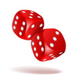 red dice with white pips on white background vector image vector image