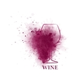 red wine glass icon with grape vector image vector image