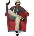 Retro character attractive afroamerican mafioso vector image vector image