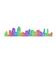 San Diego skyline silhouette - multicolor line art vector image vector image