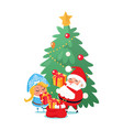 santa and snow-maiden taking out presents vector image vector image