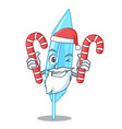 santa with candy feather mascot cartoon style vector image vector image