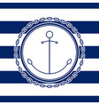 sea emblem with anchor vector image vector image