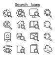 search icon set in thin line style vector image