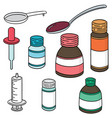 set of liquid medicine vector image