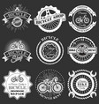 set of retro bike shop repair labels badges vector image
