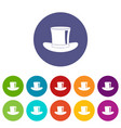 silk hat icons set flat vector image vector image