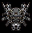 skulls and firearms logo vector image vector image