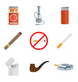 smoking and accessories icons set vector image vector image
