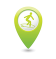 surfing icon green map pointer vector image vector image