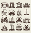 travel badges and labels world famous landmarks vector image vector image