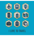 Vacation and travel icon set vector image