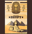 vintage colored travel egypt poster vector image vector image