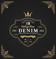 Vintage frame label design for denim and apparel vector image