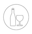 wine glass with bottle icon design vector image