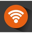 wireless icon in orange circle vector image