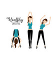 woman doing exercise to healthy lifestyle vector image vector image