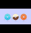 Three kawaii donuts vector image