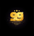 99 number icon design with golden star and glitter vector image vector image