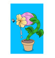 a hungry carnivorous flower looking at fly vector image vector image