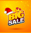 after christmas sale big sale banner with red hat vector image vector image